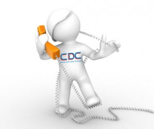 This is a image of the cdc icon on telephone with wire wrapped around him