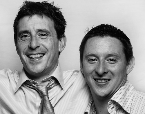 This is a Black and White picture of Colm & Damien Walsh