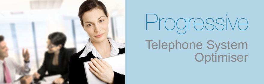 This is a image of a lady holding some sheets of paper with two people having a meeting at a table with the words text Progressive Telephone System Optimiser