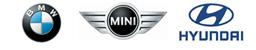 This is three cars logos BMW, MINI and Hyundai Martin Reilly Motors deals with these brands